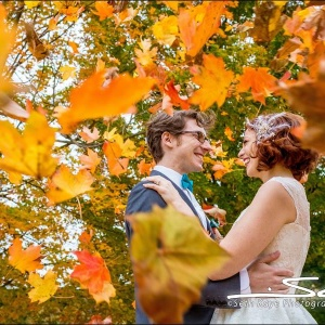 Fall wedding with Orange Leaves
