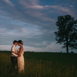 Rural Wedding Photo in Field