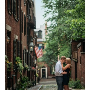 Boston cobblestone engagement photography